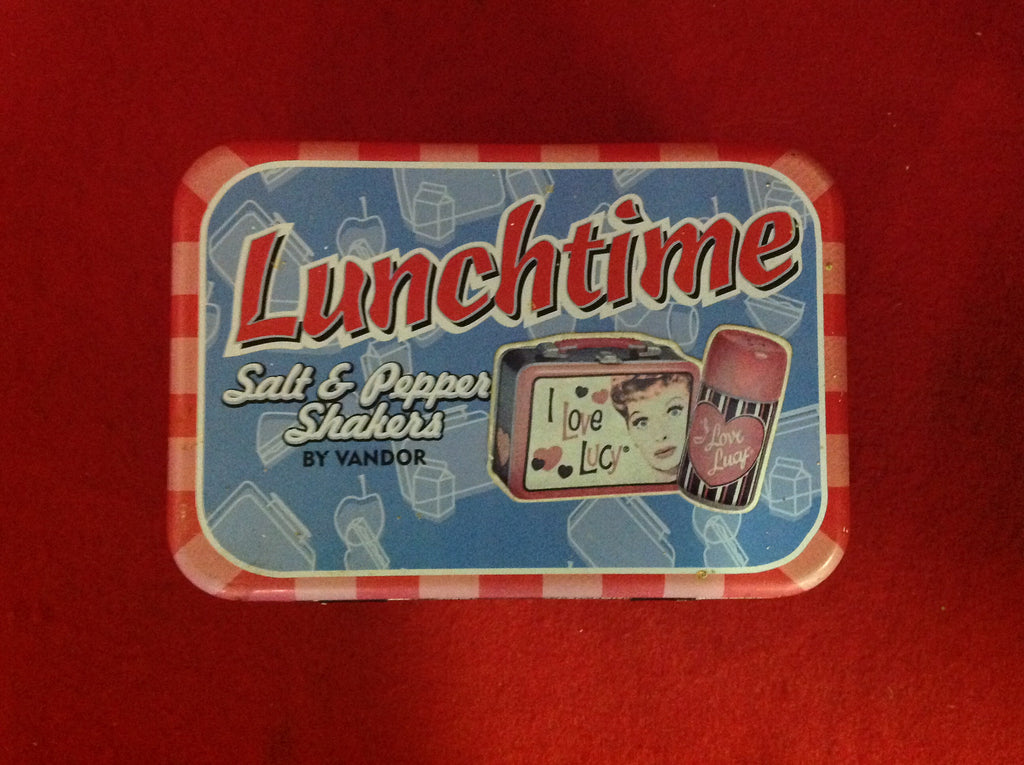 I LOVE LUCY LUNCH TOTE SALT & PEPPER SHAKERS 3 PIECE TIN LUNCH BOX THERMOS