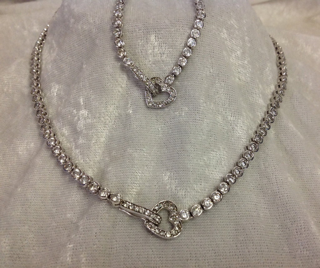 Round Crystal Necklace and Bracelet Set in Sterling Silver with Heart