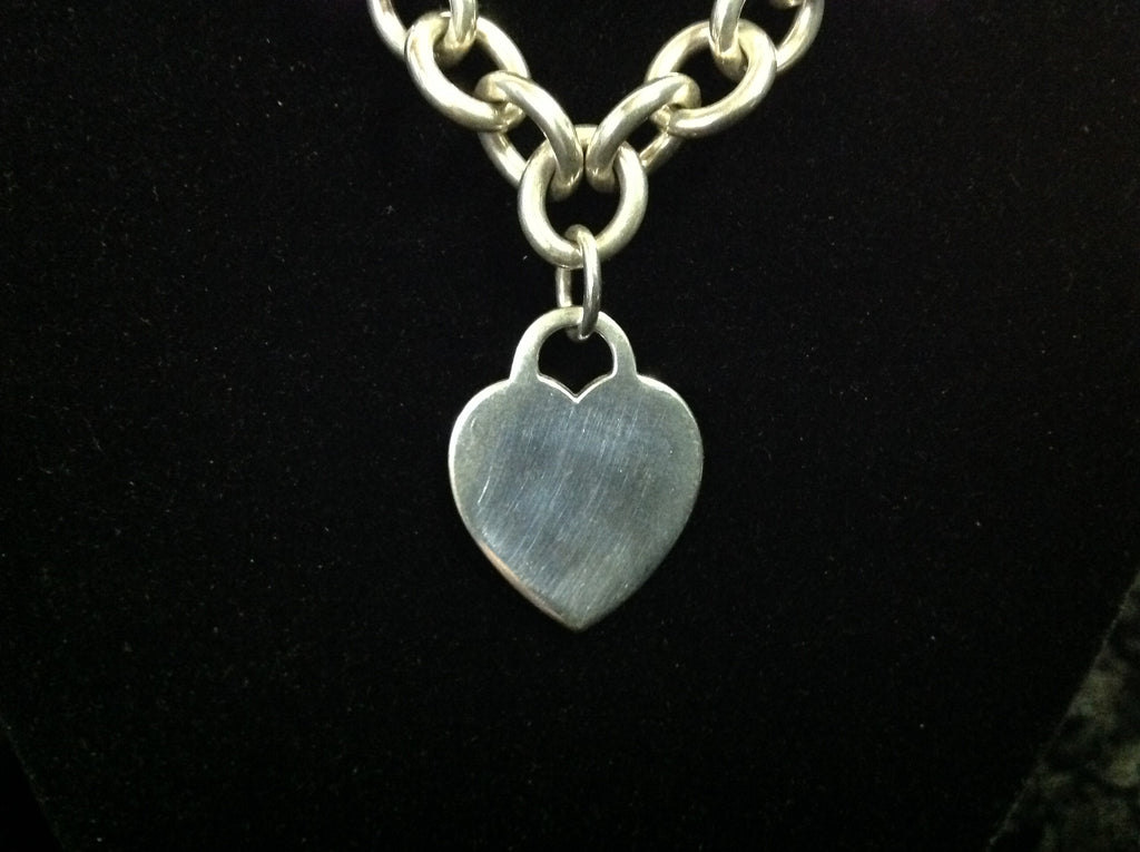 ed62df9bf Classic Tiffany & Co Heart Tag Choker 925 Sterling Silver 16 ...