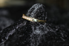 Mens 14K Yellow Gold and Diamond Wedding Band