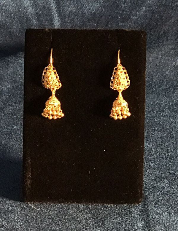 22K Solid Vintage Gold Indian Bollywood drop dangle Chandelier Jhumka Earrings