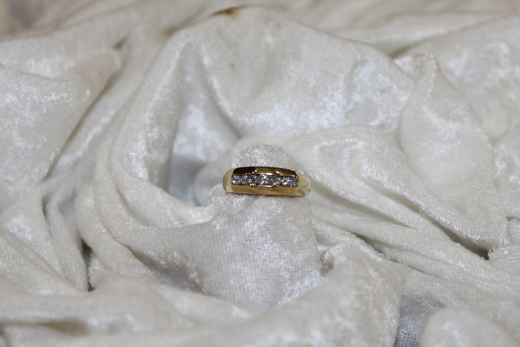 Mens 14K Gold  Wedding Band with Diamonds