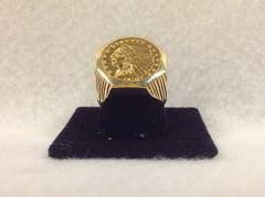 Mens Vintage Gold Ring with 1910 Liberty Gold Piece