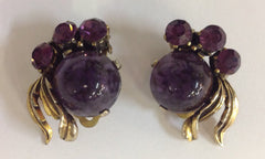 Vintage Schiaparelli Purple Glass And Rhinestone Earrings and Bracelet Set in Gold Tone Metal