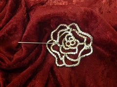 Stunning Clear Crystal Rose Brooch
