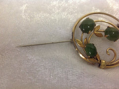 Krementz Jade Gold Filled Double Circle Brooch with Leafs
