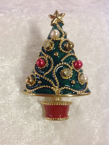 Christmas Tree Brooch with Earring Bulbs