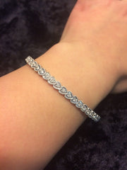 10k White Gold Bangle Diamond Hearts Bracelet