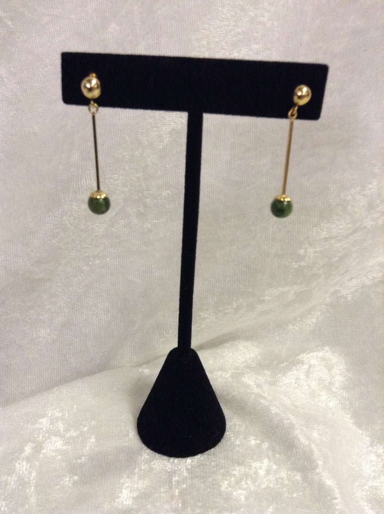 14k yellow gold vintage Jade earings