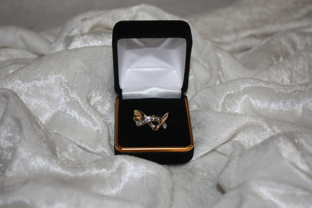 Vintage V Wrap White and Yellow Gold RIng with Diamonds
