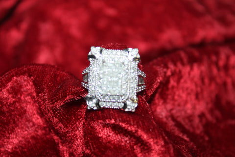 Classic Princess Cut Invisable Setting Cocktail Ring