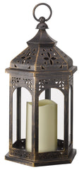 Moroccan Outdoor Battery Operated Candle Lantern - Bronze