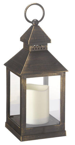 Kentish Outdoor Battery Operated Candle Lantern - Distressed Bronze - Set of 2