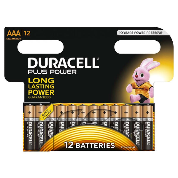 Duracell Plus Power AAA LR03 Batteries | Pack of 12