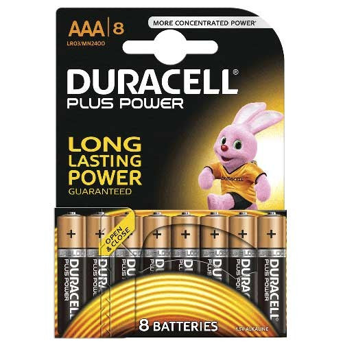 Duracell Plus Power AAA LR03 Batteries | Pack of 8