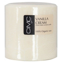 Vanilla Cream Rich Scented Large Pillar 100% Organic Wax Candle