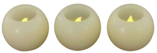Battery Operated Small Flickering Ivory LED Ball Candles - Set of 3