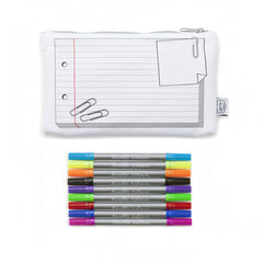The Doodle Draw On Cotton Pencil Case with 10 Wash-Out Pens - NEW