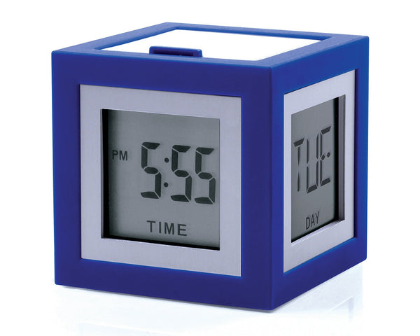Lexon Cubissimo Alarm Clock LCD Display with 4 Faces