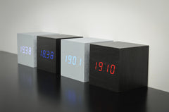 Gingko Maxi Wooden Click Alarm Clock LED Display - Available in 3 colour variants