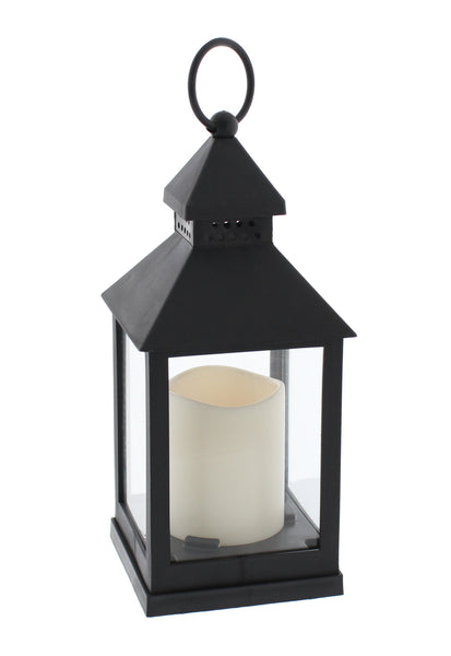 Battery Operated LED Flickering Candle Lantern - Black