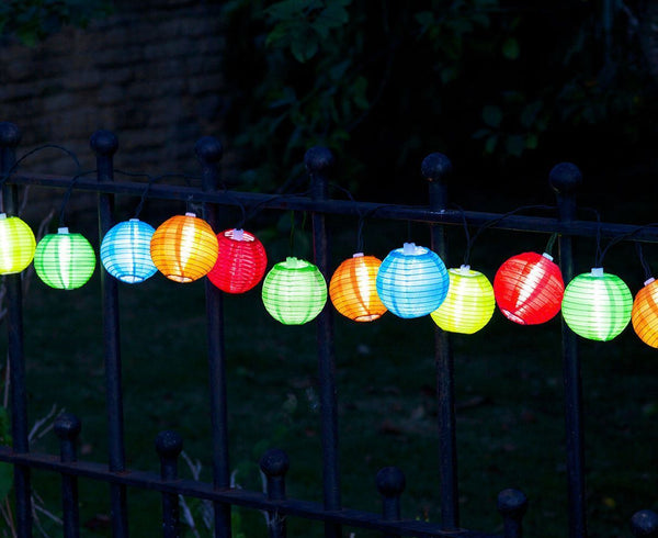10 Outdoor Chinese Lantern LED Solar String Lights - Multi Coloured