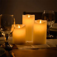 Outdoor Battery Operated LED Flickering Candle - Set of 3