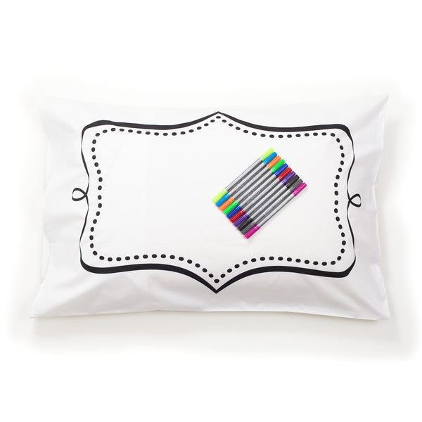 The Doodle Cotton Pillowcase - Supplied with Wash-out Pens - NEW