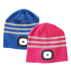 X-Cap LED Beanie Hat for Kids - USB Charged - Available in Blue or Pink