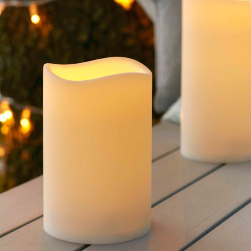 Outdoor Battery Operated LED Flickering Candle with Timer - Medium