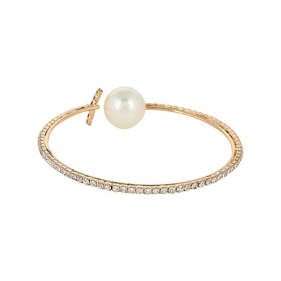 Fayon Designer Shining Rhinestone And Pearl Bangle