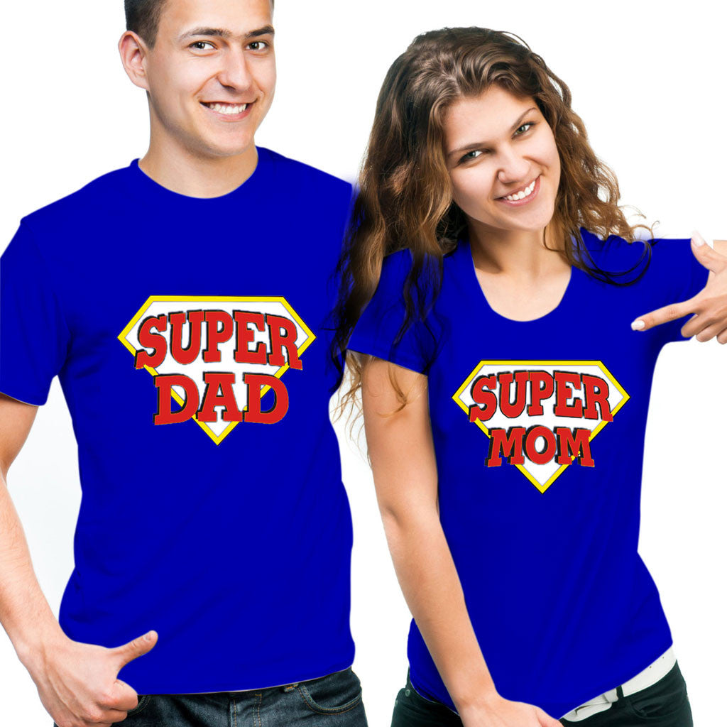 Awesome Tees Super Mom Super Dad- Blue