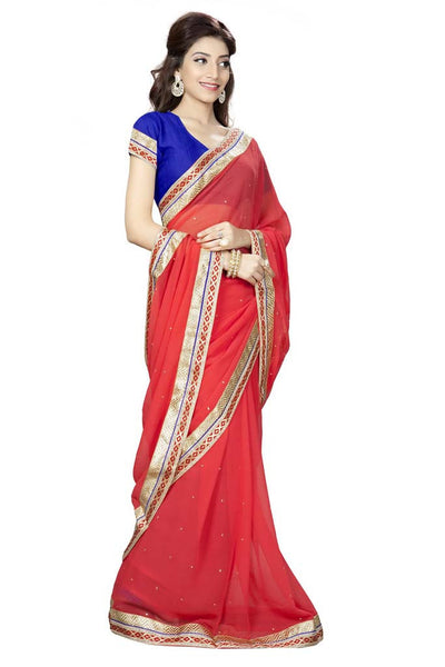 Aai shree khodiyar art multi color floral printed border saree with unstiched blouse