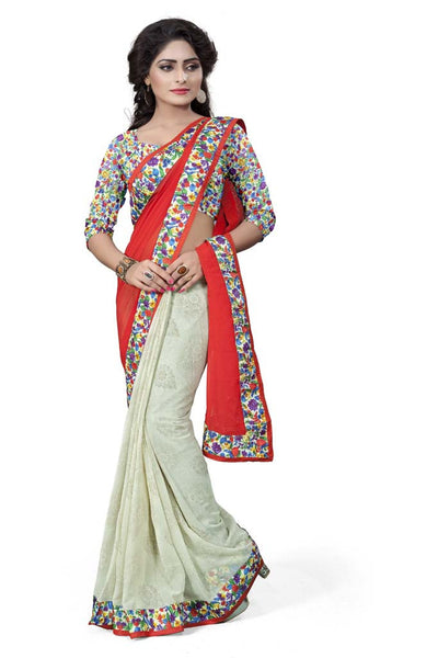 Aai shree khodiyar art multi color floral printed border saree with ubstiched blouse