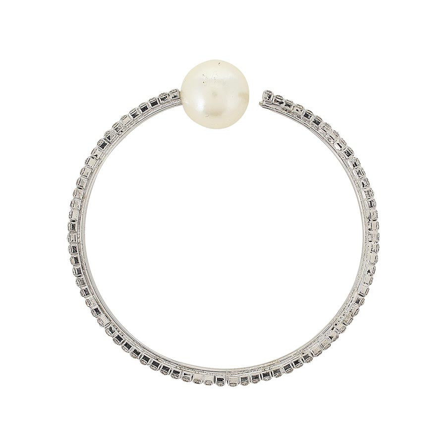 Fayon Trendy Costume Silver Shining Rhinestone and Pearl Bangle