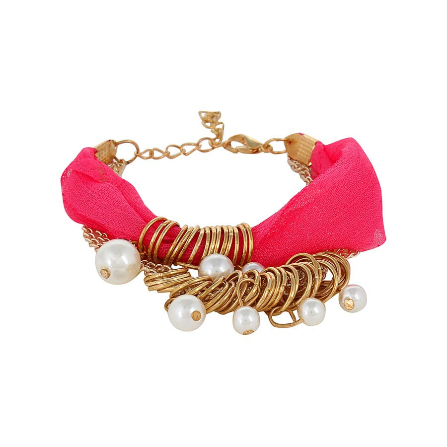 Fayon Trendy Costume Pink Ribbon with Pearls Wrap Bracelet