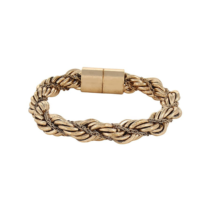Fayon Golden Intertwining Twisted Chain Magnetic Bracelet