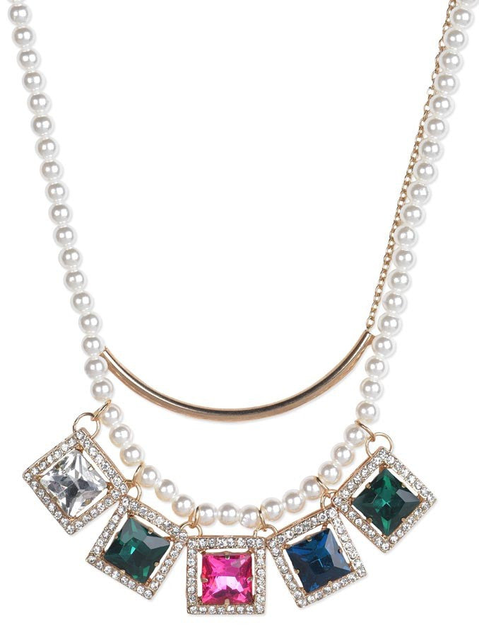 Multicolour Crystal Pearl Necklace