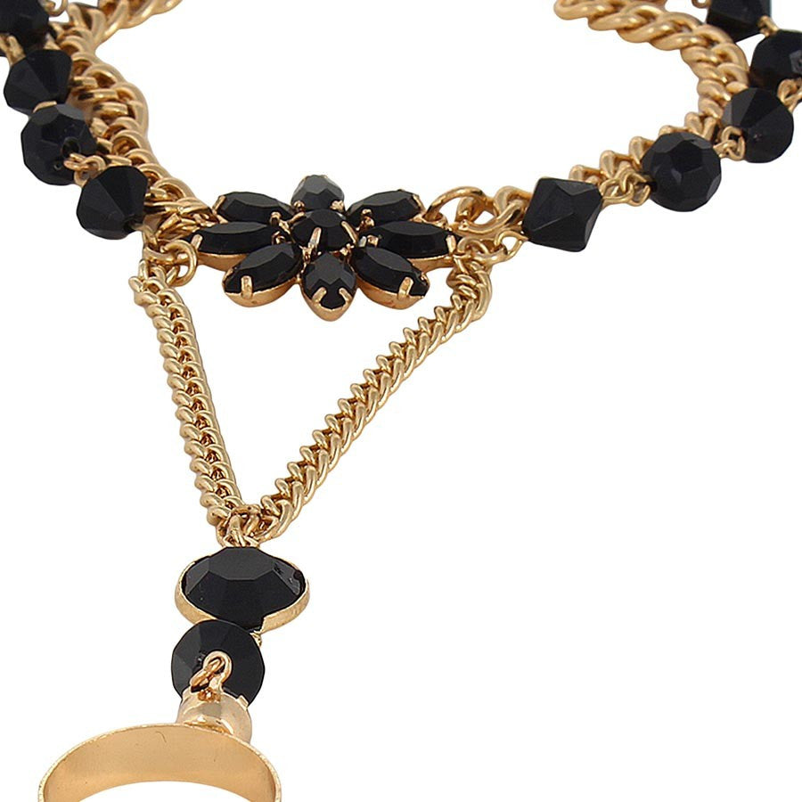 Fayon Black Gemstone Flower Chain Bracelet With Ring