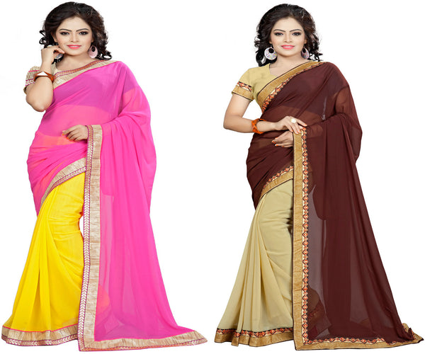 Aai shree khodiyar art unstiched multi color banarsi border saree pack of 2 with unstiched blouse