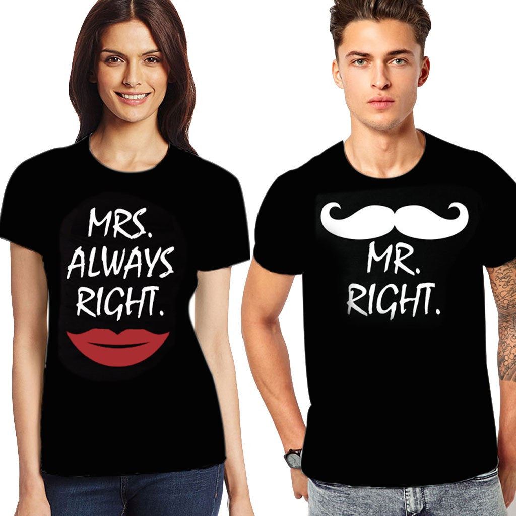 Awesome Tees Mr. Right and Mrs. Always Right Couple T-Shirt Combo