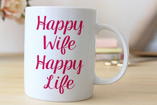 Chitchat Cafe Happy Wife Happy Life Mugs