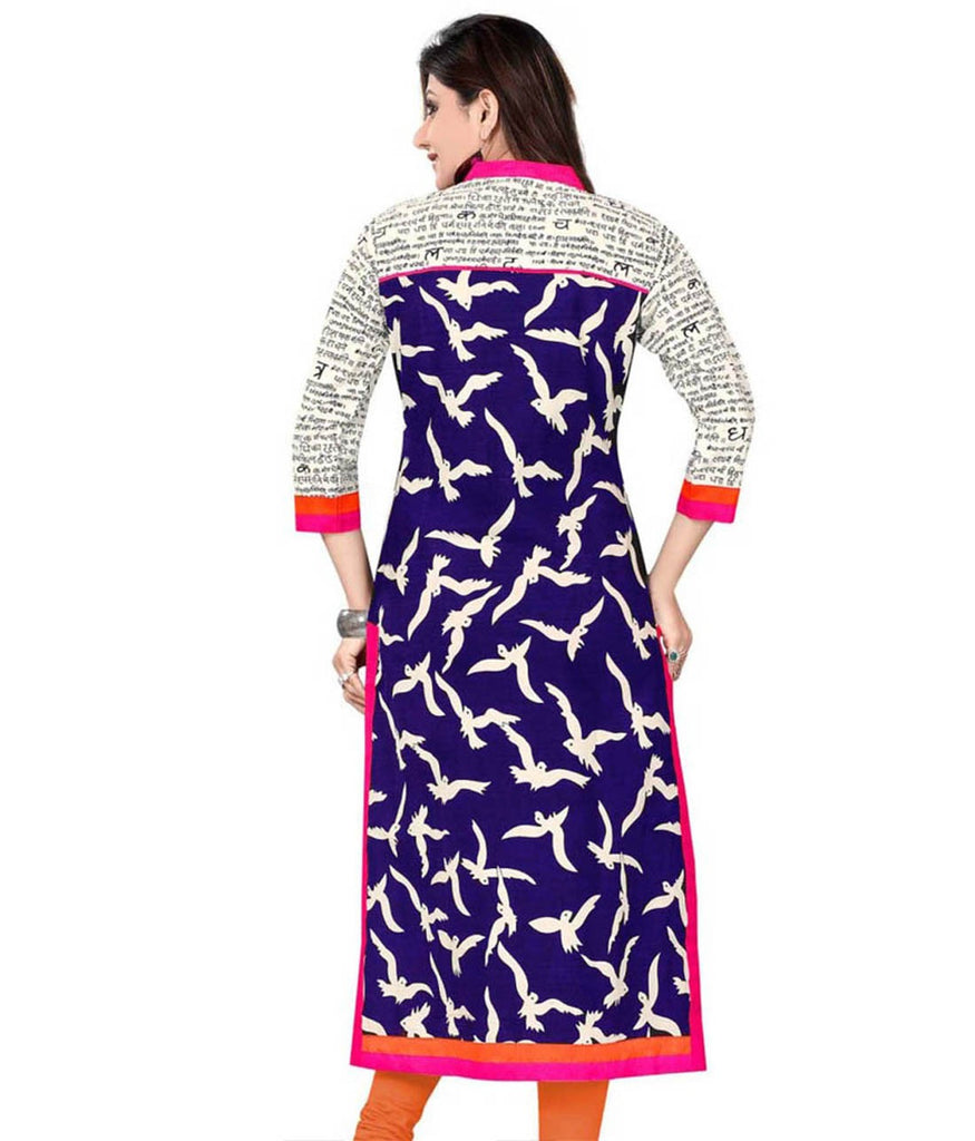 Axar fashion white and blue color cotton kurti(AR_kirti_blue)