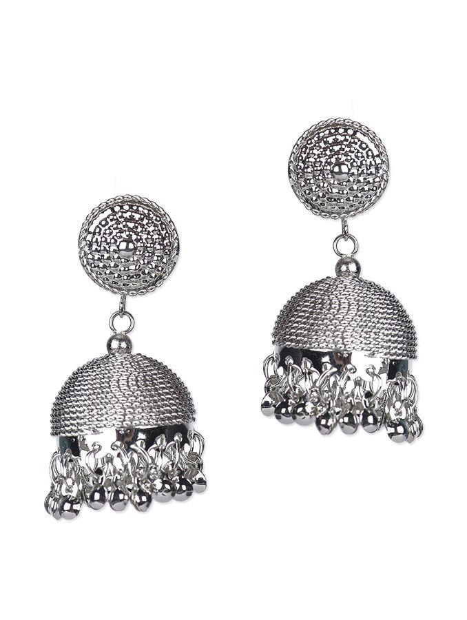 Crescent Silver Drop Earring