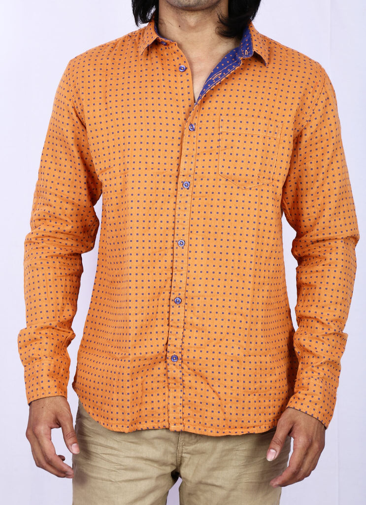 Taka Apparels Orange Casual Shirt
