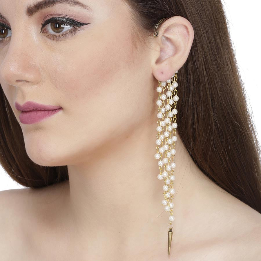Fayon Trendy Costume Gold Stylish Tassel With White Pearl Ear cuff