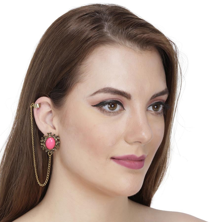 Fayon Chic Stylish Red Gemstone With Single Layer Ear cuff