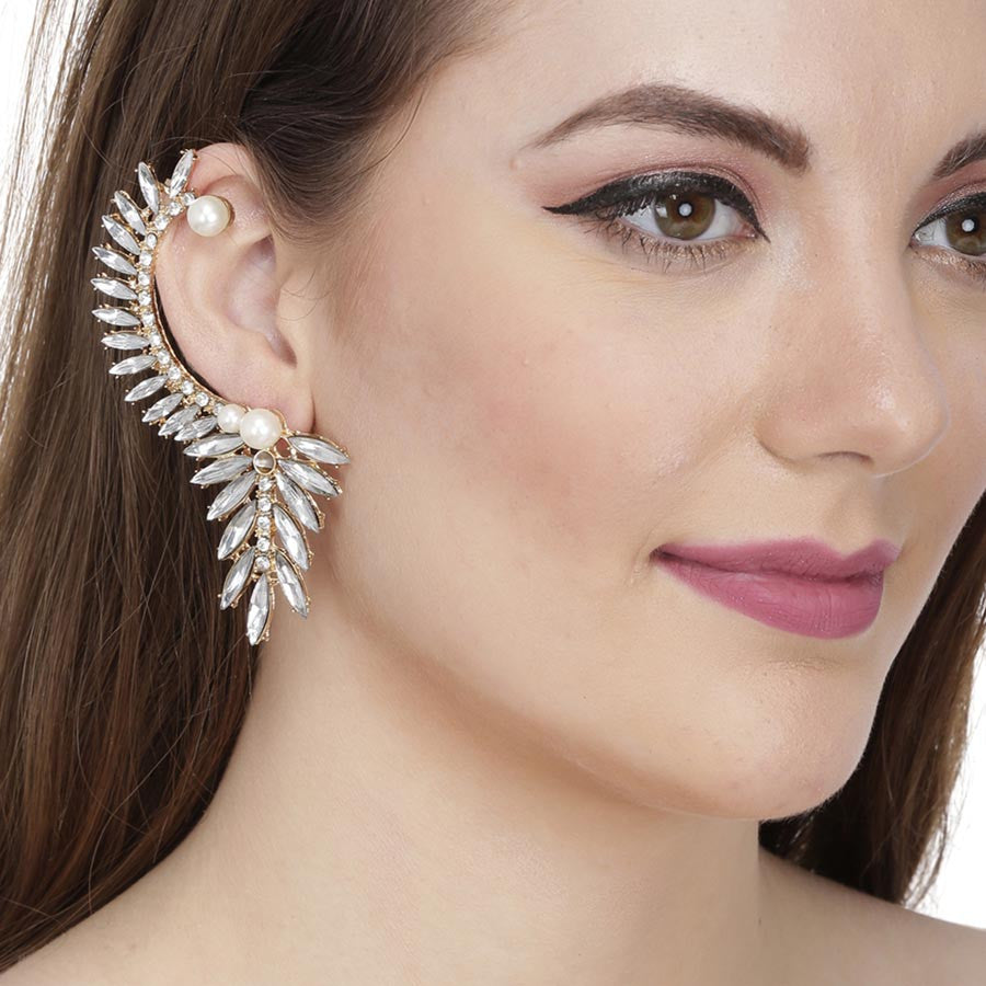 Fayon Designer Modern Crystal Leaves And Pearl Flower Ear Cuff
