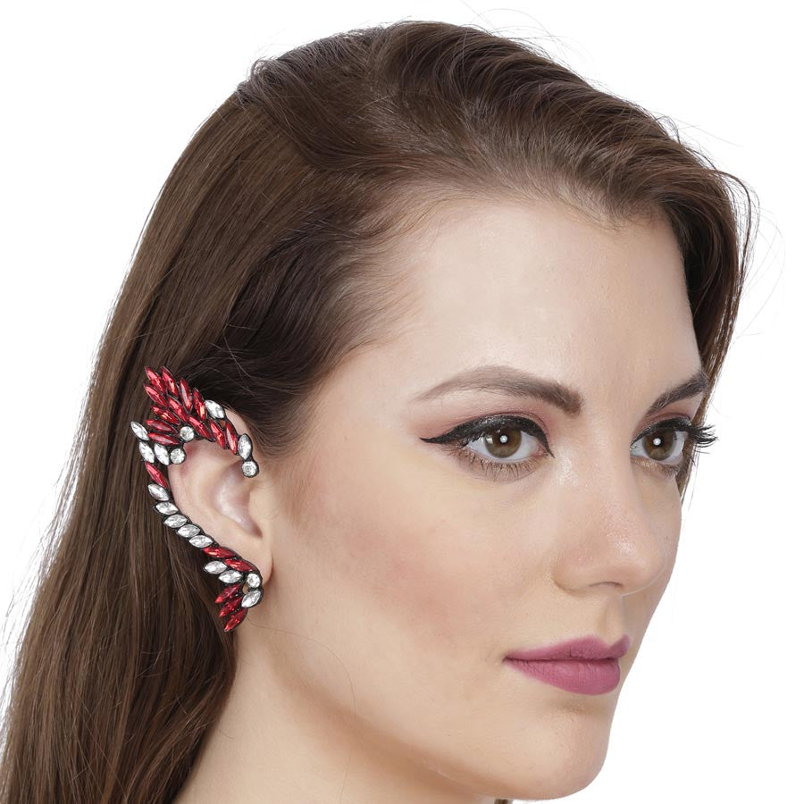 Fayon Red Rhinestone Swan Shape  Ear Cuff