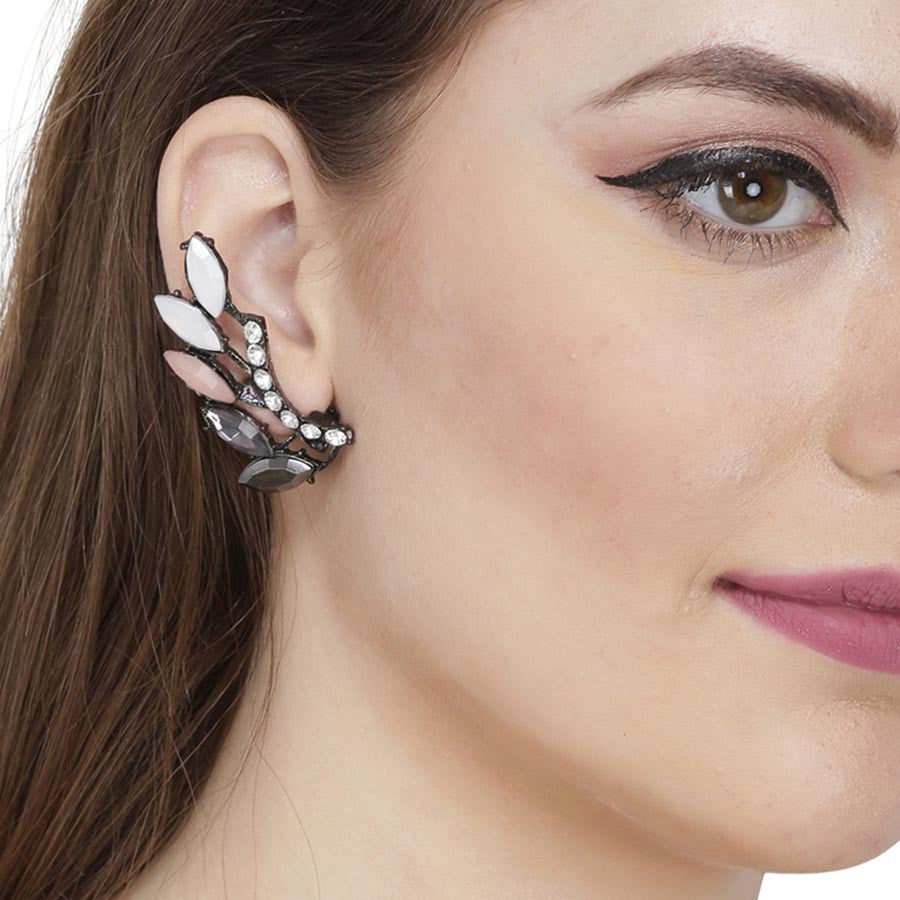 Fayon White Pink Resin Leaves Ear Cuff